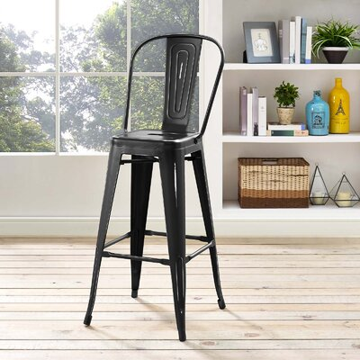 Ashlyn Metal 29.5 Bar Stool Color: Black