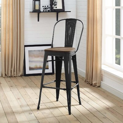Ashlyn Industrial 30 Bar Stool Color: Black