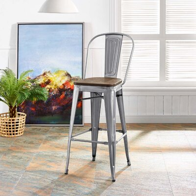Ashlyn Industrial 30 Bar Stool Color: Gunmetal