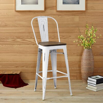 Ashlyn Industrial 30 Bar Stool Color: White