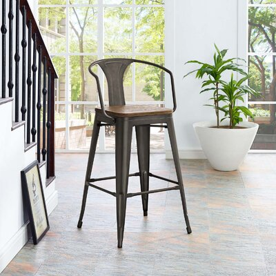 Ashlyn 30 Powder Coated Steel Bar Stool Color: Brown
