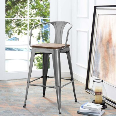 Ashlyn 30 Powder Coated Steel Bar Stool Color: Gunmetal