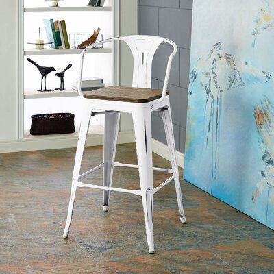 Ashlyn 30 Powder Coated Steel Bar Stool Color: White
