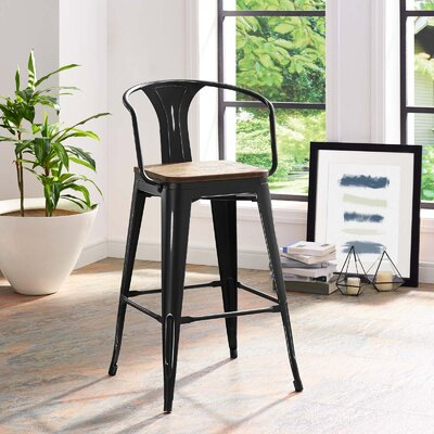 Ashlyn 30 Powder Coated Steel Bar Stool Color: Black
