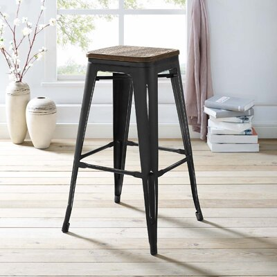Ashlyn 30 Bar Stool Color: Black