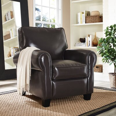 Leader Leather Manual Recliner Upholstery: Brown