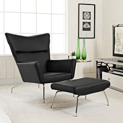 Class Leather Lounge Chair and Ottoman Upholstery: Black