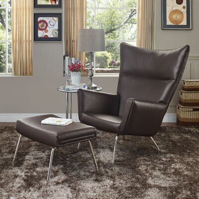 Class Lounge Chair and Ottoman Upholstery: Dark Brown