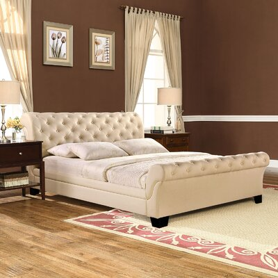 Upholstered Sleigh Bed Color: Beige