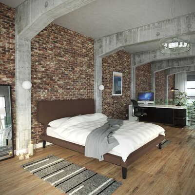 Queen Upholstered Platform Bed Color: Brown