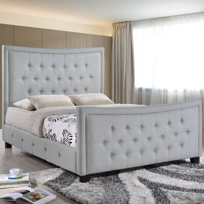 Queen Upholstered Platform Bed Color: Grey