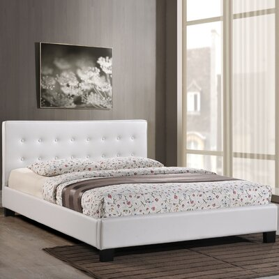 King Upholstered Platform Bed Color: White