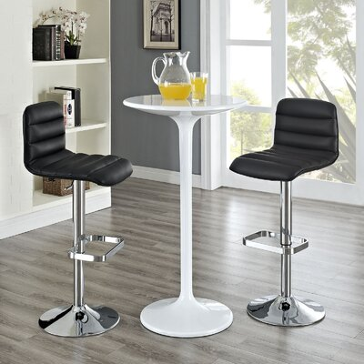 Kizzy Contemporary Adjustable Height Swivel Bar Stool Upholstery: Black