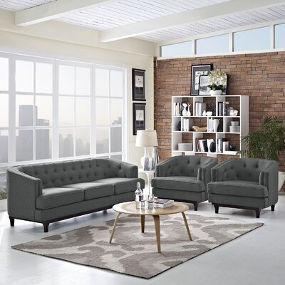 Coast 3 Piece Living Room Set Upholstery: Gray