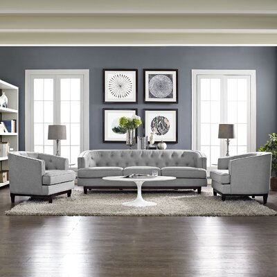 Coast 3 Piece Living Room Set Upholstery: Light Gray