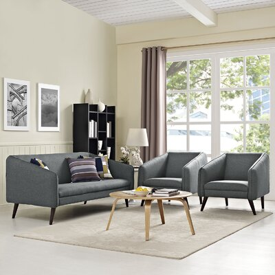 Slide 3 Piece Living Room Set Upholstery: Gray