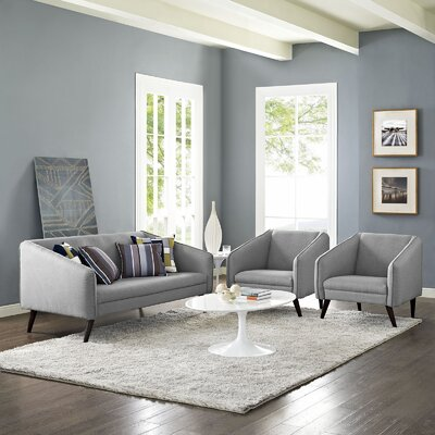 Slide 3 Piece Living Room Set Upholstery: Light Gray