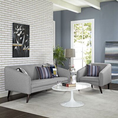 Slide 2 Piece Living Room Set Upholstery: Light Gray