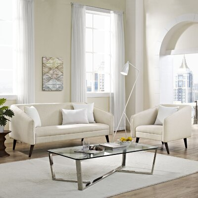 Slide 2 Piece Living Room Set Upholstery: Beige