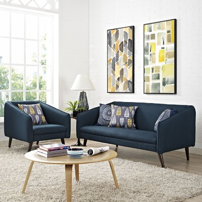 Slide 2 Piece Living Room Set Upholstery: Azure
