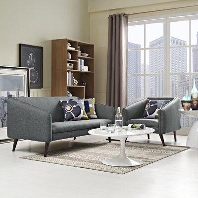 Slide 2 Piece Living Room Set Upholstery: Gray