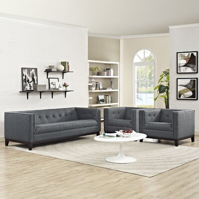 Serve 3 Piece Living Room Set Color: Gray