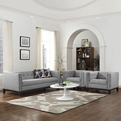 Serve 3 Piece Living Room Set Color: Light Gray
