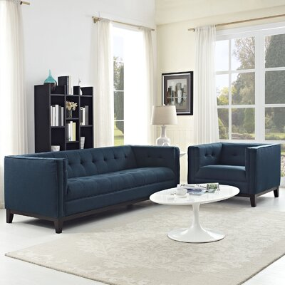 Serve 2 Piece Living Room Set Color: Azure