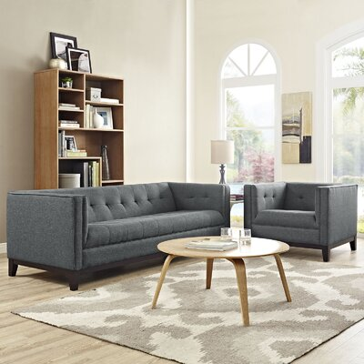 Serve 2 Piece Living Room Set Color: Gray