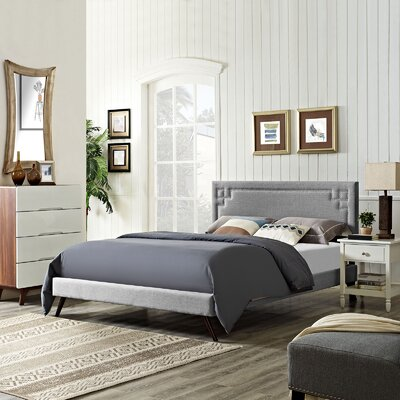 Kerley Upholstered Platform Bed Size: King, Color: Wheatgrass