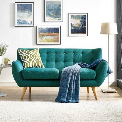 Meggie Upholstered Loveseat Upholstery: Teal