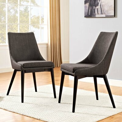 Carlton Dining Side Chair Upholstery: Brown