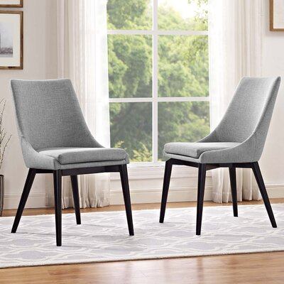 Carlton Dining Side Chair Upholstery: Light Gray