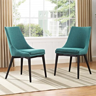 Carlton Dining Side Chair Upholstery: Teal