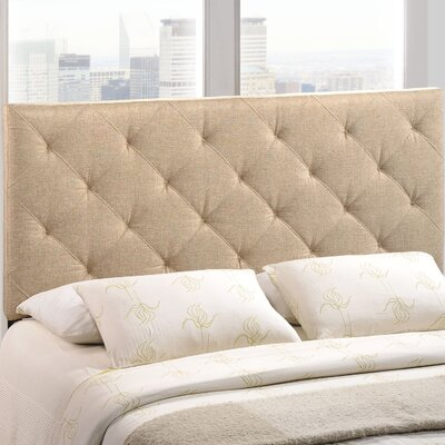 Theodore Upholstered Panel Headboard Size: King, Upholstery: Beige