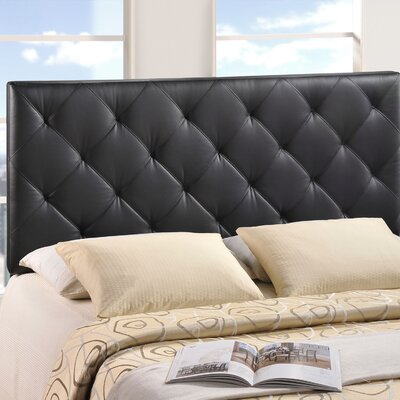 Theodore Queen Upholstered Headboard Upholstery: Black