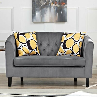 Ziaa Loveseat Upholstery: Dark Gray