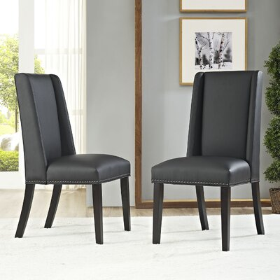 Florinda Upholstered Dining Chair Color: Black