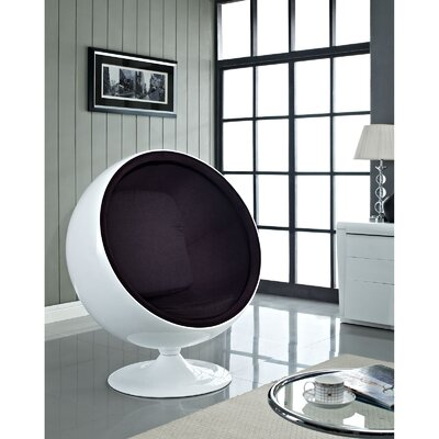 Modway Kaddur Swivel Balloon Chair Upholstery: Black