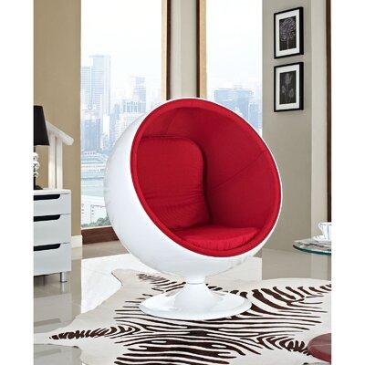 Modway Kaddur Swivel Balloon Chair Upholstery: Red