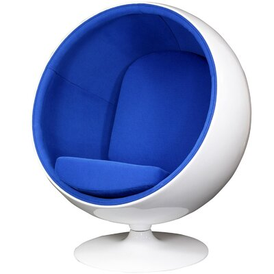 Modway Kaddur Swivel Balloon Chair Upholstery: Blue