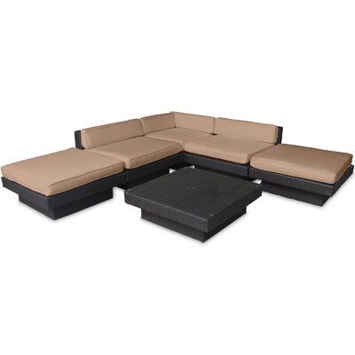 Luxury 6 Piece Outdoor Patio Sectional Set Finish: Espresso, Fabric: Mocha