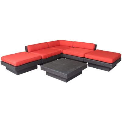 Luxury 6 Piece Outdoor Patio Sectional Set Finish: Espresso, Fabric: Red