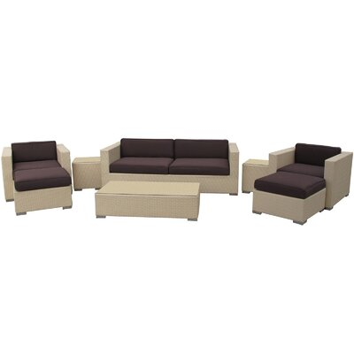 Venice 8 Piece Deep Seating Group with Cushions Finish: Tan, Fabric: Brown