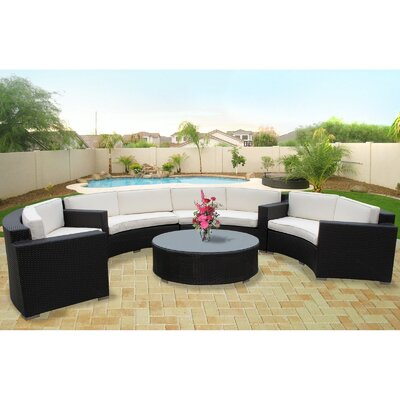 Portico 5 Piece Outdoor Patio Sectional Set Finish: Espresso, Fabric: White