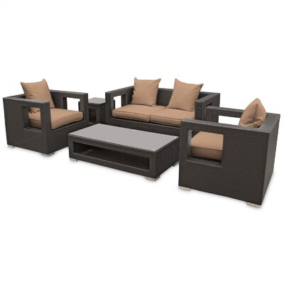 Lunar 5 Piece Deep Seating Group with Cushions Finish: Espresso, Fabric: Mocha