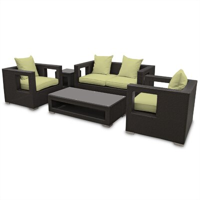 Lunar 5 Piece Deep Seating Group with Cushions Finish: Espresso, Fabric: Peridor