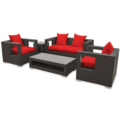 Lunar 5 Piece Deep Seating Group with Cushions Finish: Espresso, Fabric: Red