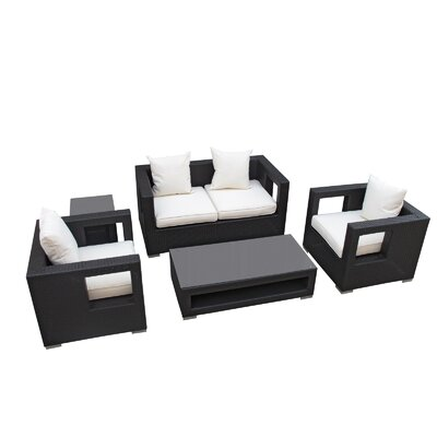 Lunar 5 Piece Deep Seating Group with Cushions Finish: Espresso, Fabric: White