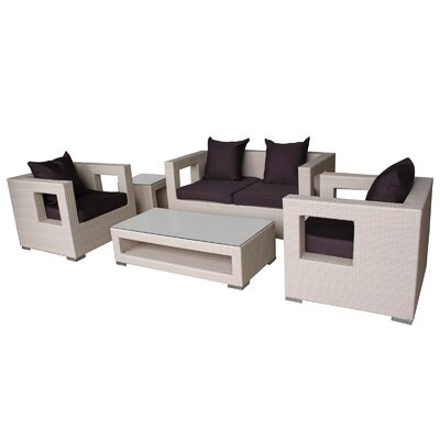 Lunar 5 Piece Deep Seating Group with Cushions Finish: Tan, Fabric: Brown